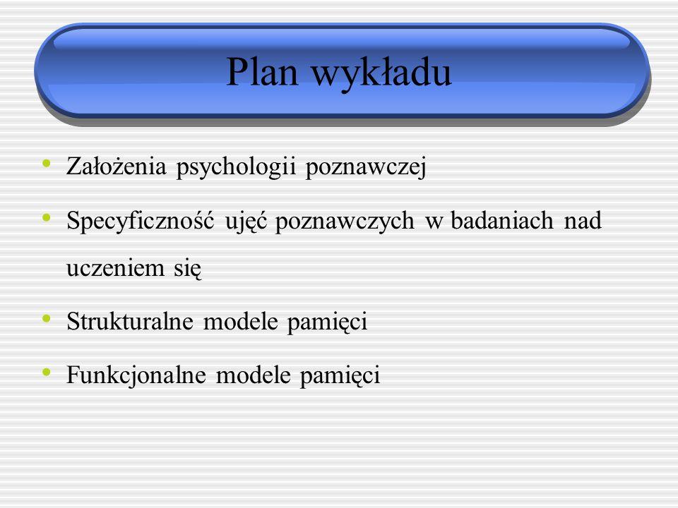 PROBLEMATYKA VII. Poznawcze podejście do problematyki uczenia się- analiza teorii kognitywnych (poznawczych) przyjmujących za podstawę uczenia się zmi
