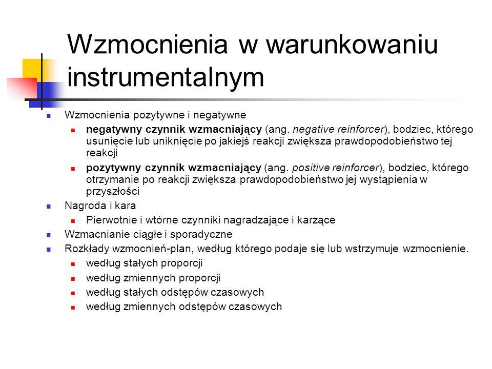 Wzmocnienia w warunkowaniu instrumentalnym Wzmocnienia pozytywne i negatywne negatywny czynnik wzmacniający (ang. negative reinforcer), bodziec, które