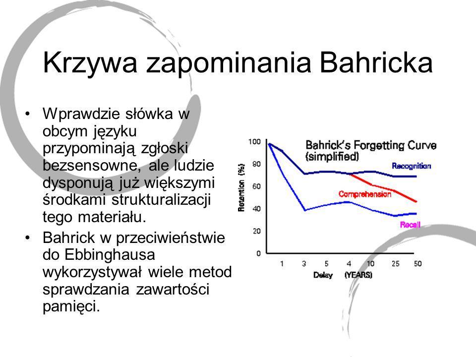 Krzywa zapominania Bahricka Wprawdzie słówka w obcym języku przypominają zgłoski bezsensowne, ale ludzie dysponują już większymi środkami strukturaliz