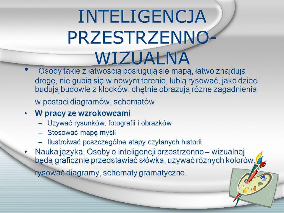 INTELIGENCJA MATEMATYCZNO- LOGICZNA Osoby z taką inteligencją są często dobrze zorganizowane, nie znoszą bałaganu i chaosu, dobrze radzą sobie z liczb