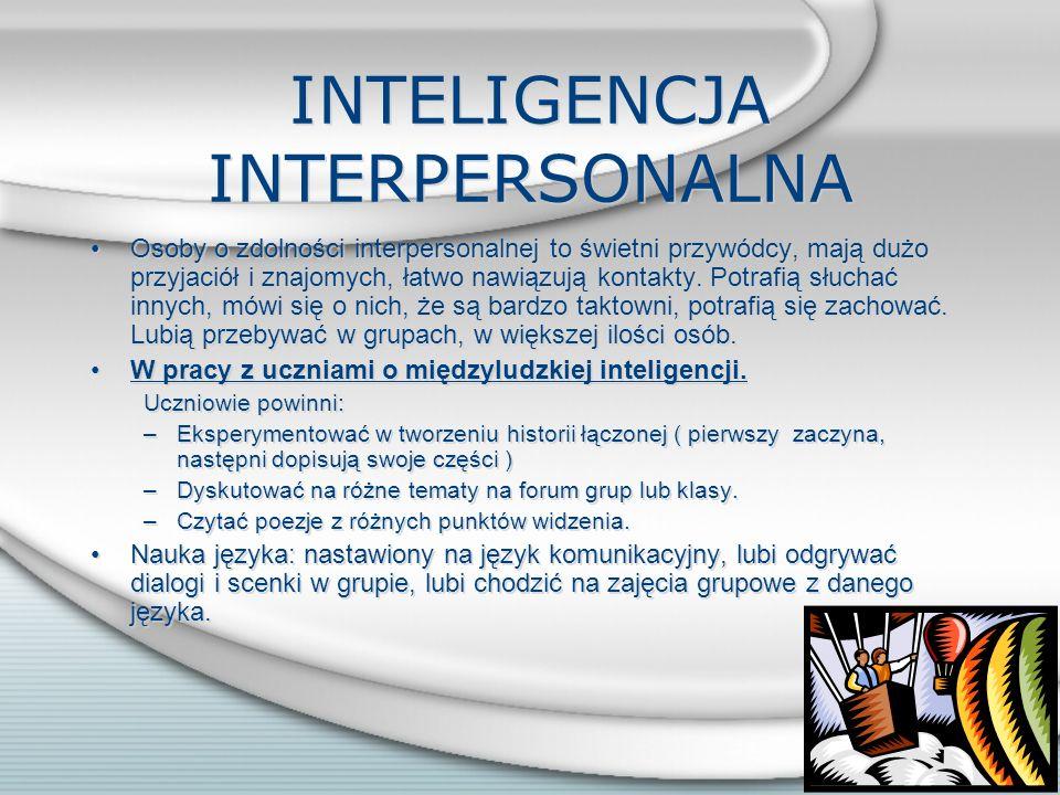 INTELIGENCJA INTRAPERSONALNA Osoba o inteligencji intrapersonalnej jest świadoma siebie, swoich zalet, ale także ograniczeń, potrafi nad sobą pracować