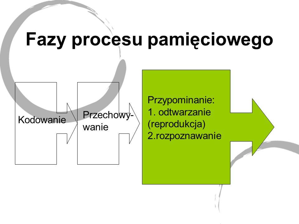 Fazy procesu pamięciowego Kodowanie Przechowy- wanie Przypominanie: 1.