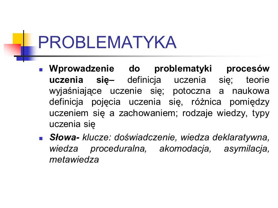 PROBLEMATYKA Wprowadzenie do problematyki procesów uczenia się– definicja uczenia się; teorie wyjaśniające uczenie się; potoczna a naukowa definicja p