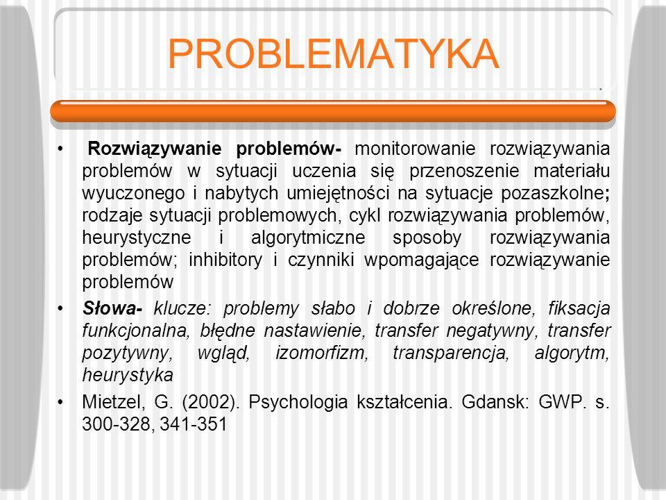 PROBLEMATYKA Rozwiązywanie problemów- monitorowanie rozwiązywania problemów w sytuacji uczenia się przenoszenie materiału wyuczonego i nabytych umieję