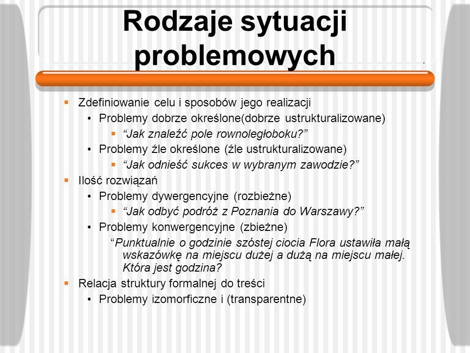 Rodzaje sytuacji problemowych Zdefiniowanie celu i sposobów jego realizacji Problemy dobrze określone(dobrze ustrukturalizowane) Jak znaleźć pole rown