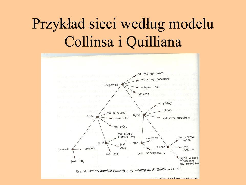 Struktura pamięci semantycznej: modele sieciowe Źródło: poglądy asocjacjonistyczne Model Collinsa i Quilliana Pamięć semantyczna to sieć złożona z węz