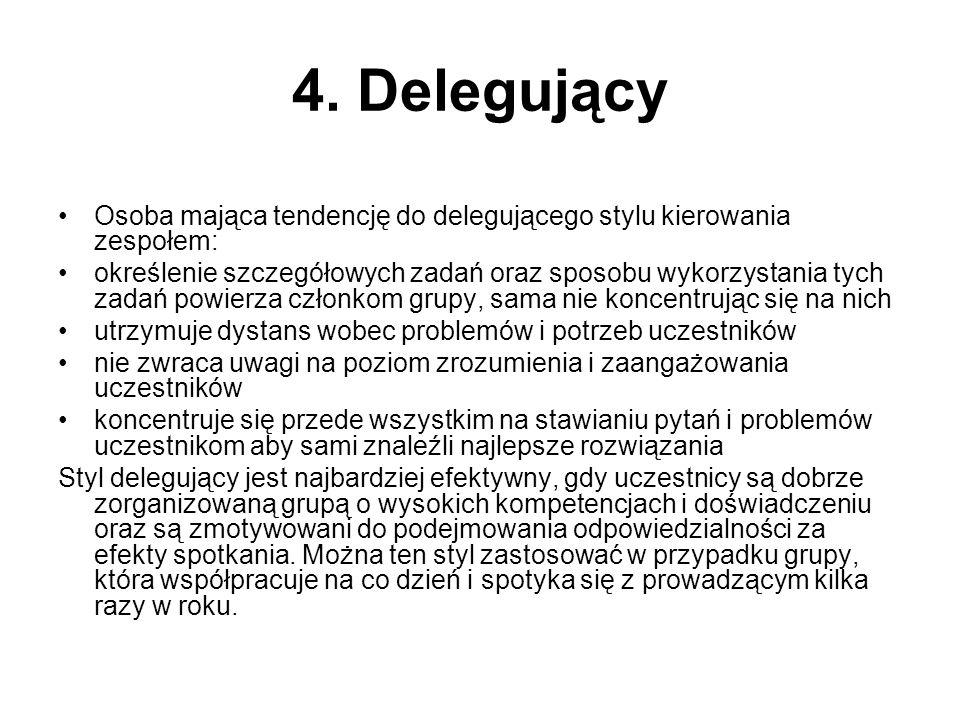 4. Delegujący Osoba mająca tendencję do delegującego stylu kierowania zespołem: określenie szczegółowych zadań oraz sposobu wykorzystania tych zadań p