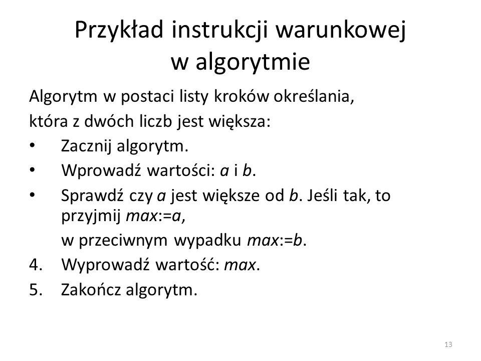 13 Przykład instrukcji warunkowej w algorytmie Algorytm w postaci listy kroków określania, która z dwóch liczb jest większa: Zacznij algorytm. Wprowad