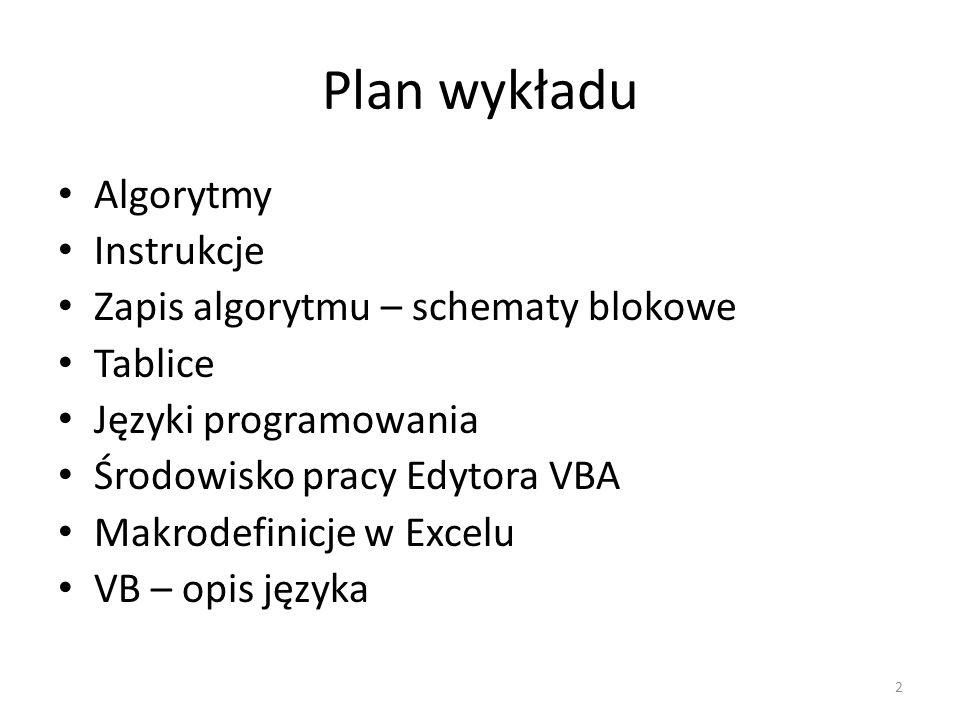 2 Plan wykładu Algorytmy Instrukcje Zapis algorytmu – schematy blokowe Tablice Języki programowania Środowisko pracy Edytora VBA Makrodefinicje w Exce