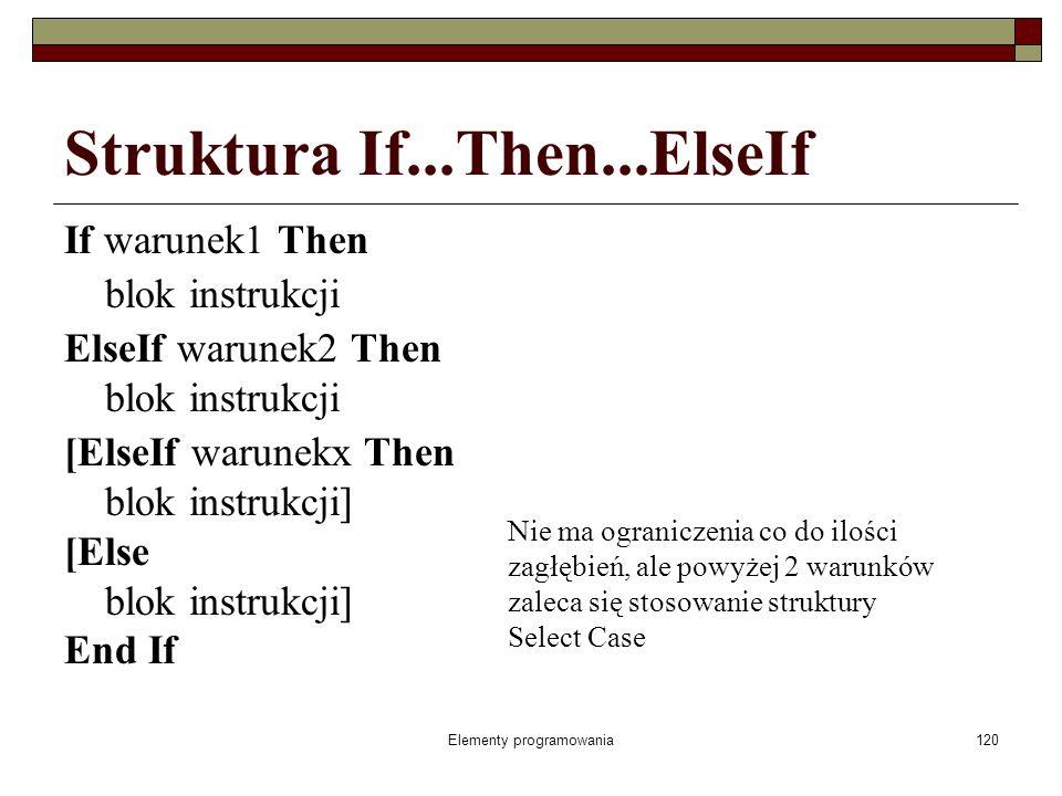 121 Struktura If...Then...ElseIf jeżeli warunek (warunek1) jest prawdziwy (ma wartość logiczną True) program wykonuje polecenie znajdujące się pomiędzy słowami Then i ElseIf, a po ich zakończeniu realizuje dalszy ciąg programu (po słowie EndIf), jeżeli warunek jest nieprawdziwy (ma wartość logiczną False) program od razu przechodzi do sprawdzenia warunku2 po ElseIf, jeżeli ten warunek (warunek2) jest prawdziwy (ma wartość logiczną True) program wykonuje polecenie znajdujące się pomiędzy słowami Then i Else, a po ich zakończeniu realizuje dalszy ciąg programu (po słowie EndIf), jeżeli warunek po ElseIf jest nieprawdziwy - fałszywy (ma wartość logiczną False) program od razu przechodzi do: instrukcji po słowie Else jeżeli to słowo istnieje, instrukcji po słowach End If,
