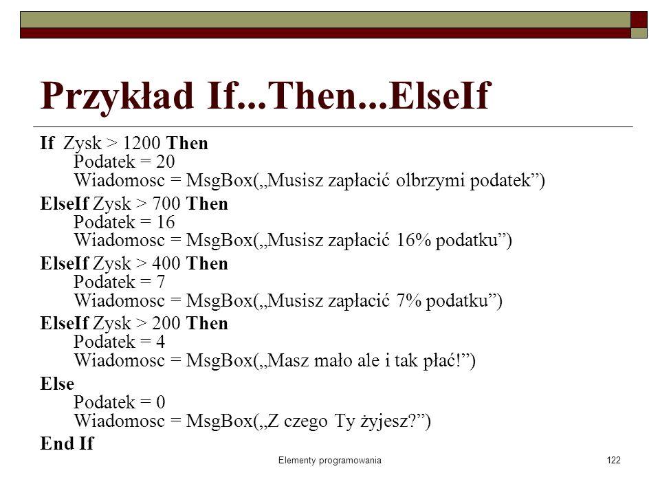 Elementy programowania122 Przykład If...Then...ElseIf If Zysk > 1200 Then Podatek = 20 Wiadomosc = MsgBox(Musisz zapłacić olbrzymi podatek) ElseIf Zysk > 700 Then Podatek = 16 Wiadomosc = MsgBox(Musisz zapłacić 16% podatku) ElseIf Zysk > 400 Then Podatek = 7 Wiadomosc = MsgBox(Musisz zapłacić 7% podatku) ElseIf Zysk > 200 Then Podatek = 4 Wiadomosc = MsgBox(Masz mało ale i tak płać!) Else Podatek = 0 Wiadomosc = MsgBox(Z czego Ty żyjesz ) End If