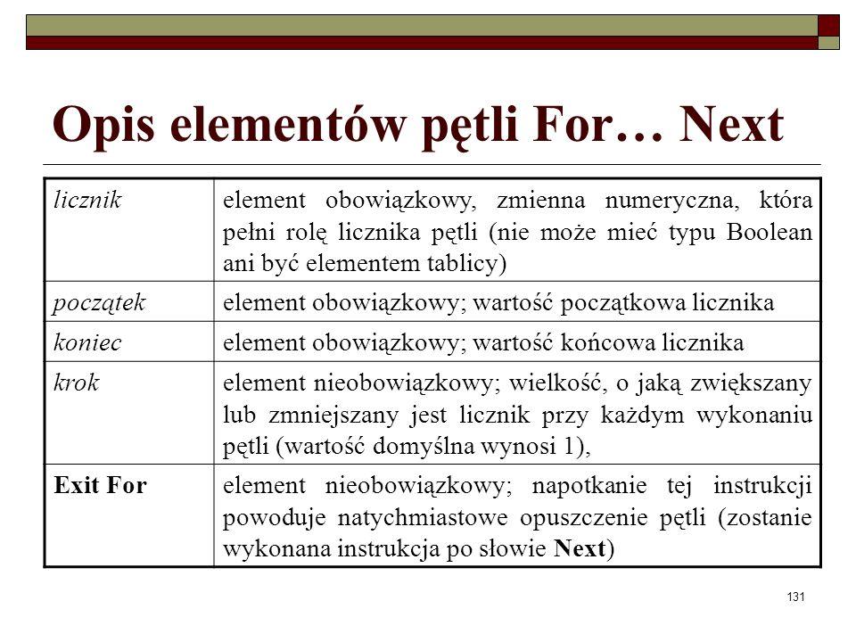 131 Opis elementów pętli For… Next licznikelement obowiązkowy, zmienna numeryczna, która pełni rolę licznika pętli (nie może mieć typu Boolean ani być elementem tablicy) początekelement obowiązkowy; wartość początkowa licznika koniecelement obowiązkowy; wartość końcowa licznika krokelement nieobowiązkowy; wielkość, o jaką zwiększany lub zmniejszany jest licznik przy każdym wykonaniu pętli (wartość domyślna wynosi 1), Exit Forelement nieobowiązkowy; napotkanie tej instrukcji powoduje natychmiastowe opuszczenie pętli (zostanie wykonana instrukcja po słowie Next)