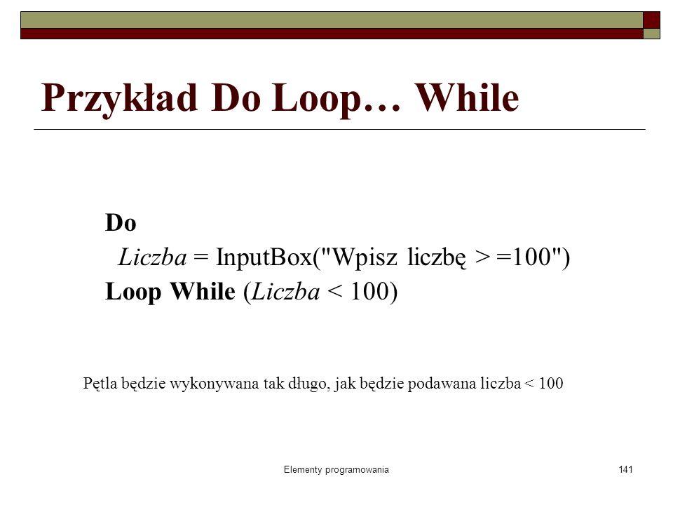 Elementy programowania142 Pętla Do Loop… Until Do blok instrukcji [Exit Do] blok instrukcji Loop Until warunek instrukcje