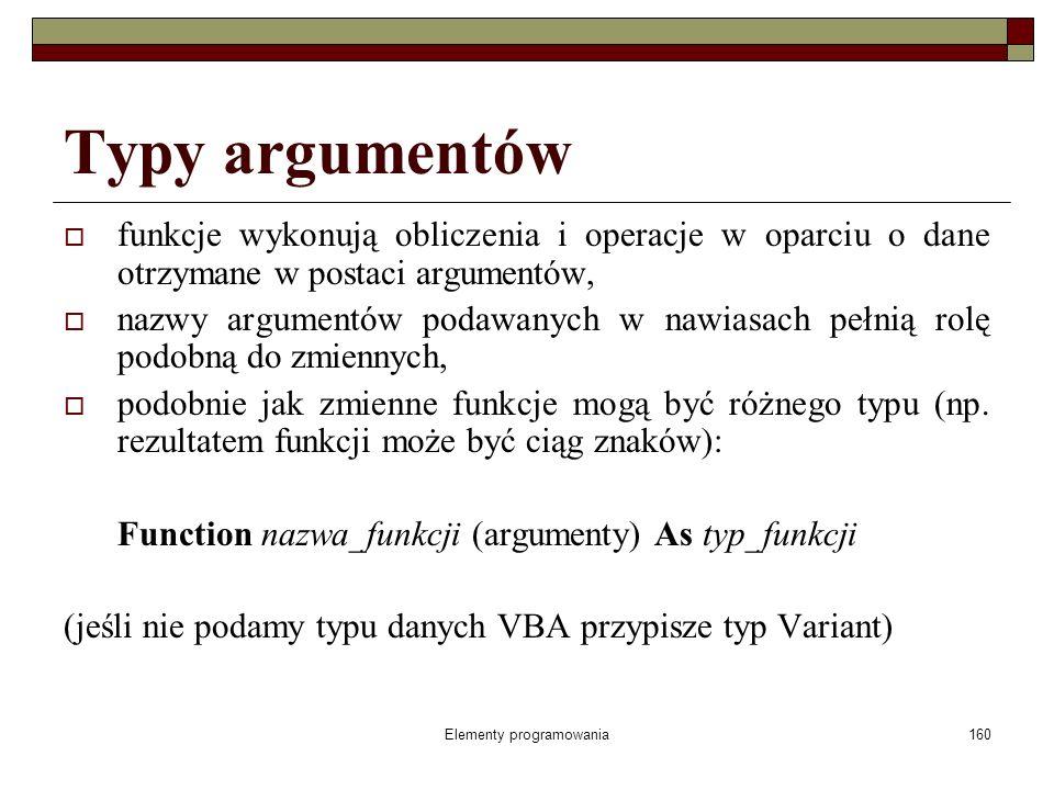 Elementy programowania160 Typy argumentów funkcje wykonują obliczenia i operacje w oparciu o dane otrzymane w postaci argumentów, nazwy argumentów podawanych w nawiasach pełnią rolę podobną do zmiennych, podobnie jak zmienne funkcje mogą być różnego typu (np.