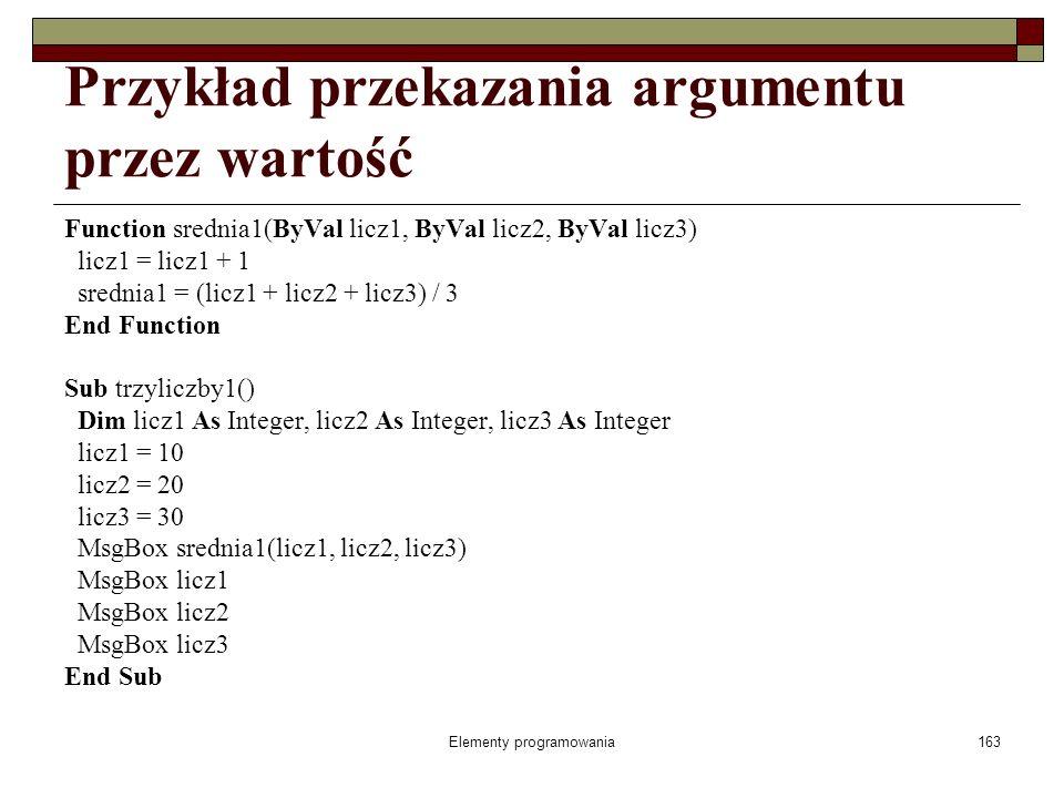 Elementy programowania163 Przykład przekazania argumentu przez wartość Function srednia1(ByVal licz1, ByVal licz2, ByVal licz3) licz1 = licz1 + 1 srednia1 = (licz1 + licz2 + licz3) / 3 End Function Sub trzyliczby1() Dim licz1 As Integer, licz2 As Integer, licz3 As Integer licz1 = 10 licz2 = 20 licz3 = 30 MsgBox srednia1(licz1, licz2, licz3) MsgBox licz1 MsgBox licz2 MsgBox licz3 End Sub