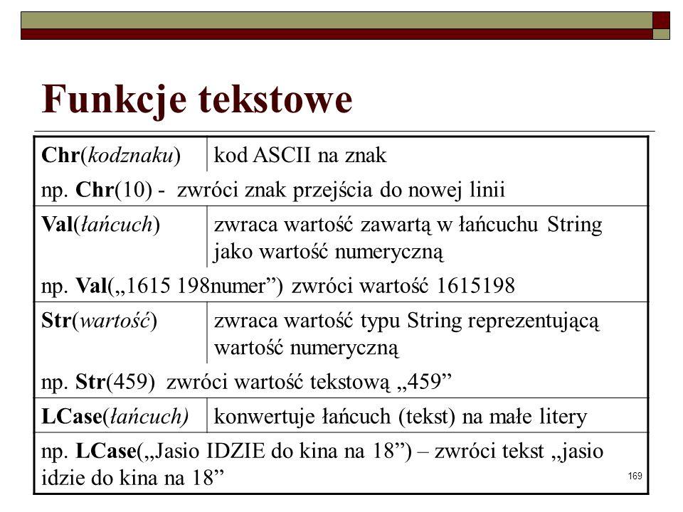 169 Funkcje tekstowe Chr(kodznaku)kod ASCII na znak np.