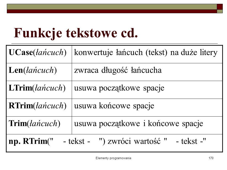 Elementy programowania170 Funkcje tekstowe cd. UCase(łańcuch)konwertuje łańcuch (tekst) na duże litery Len(łańcuch)zwraca długość łańcucha LTrim(łańcu