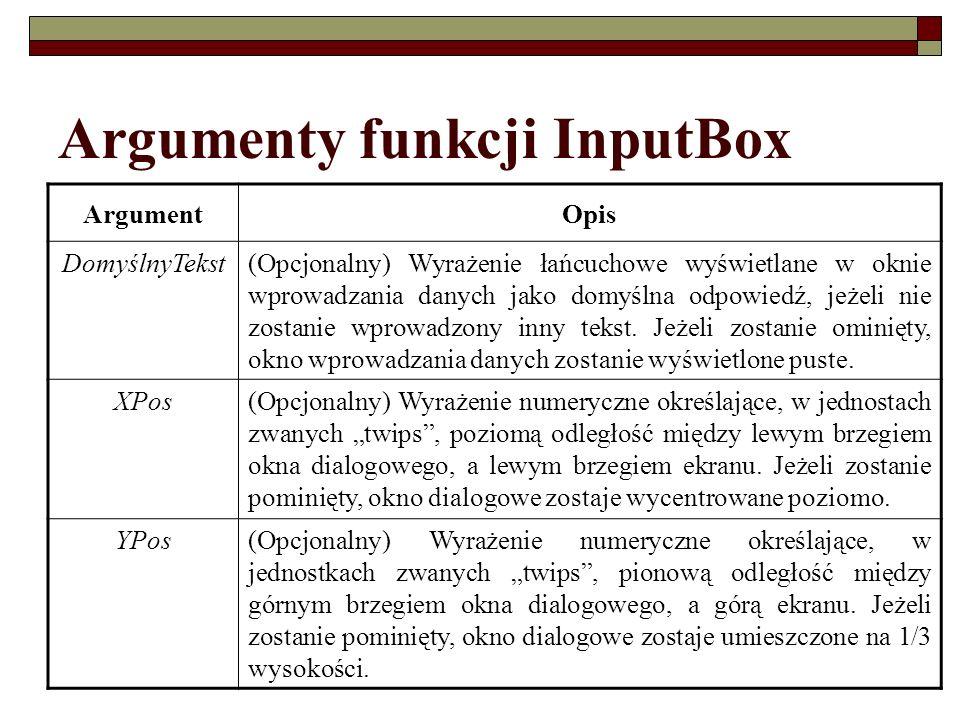 Argumenty funkcji InputBox ArgumentOpis DomyślnyTekst(Opcjonalny) Wyrażenie łańcuchowe wyświetlane w oknie wprowadzania danych jako domyślna odpowiedź