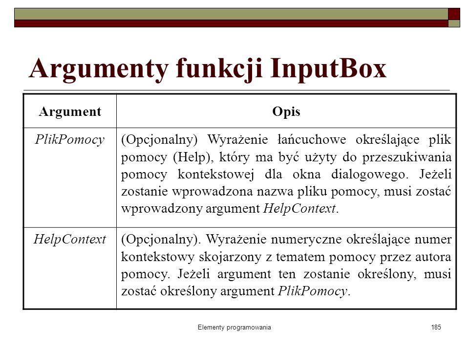 Elementy programowania185 Argumenty funkcji InputBox ArgumentOpis PlikPomocy(Opcjonalny) Wyrażenie łańcuchowe określające plik pomocy (Help), który ma być użyty do przeszukiwania pomocy kontekstowej dla okna dialogowego.
