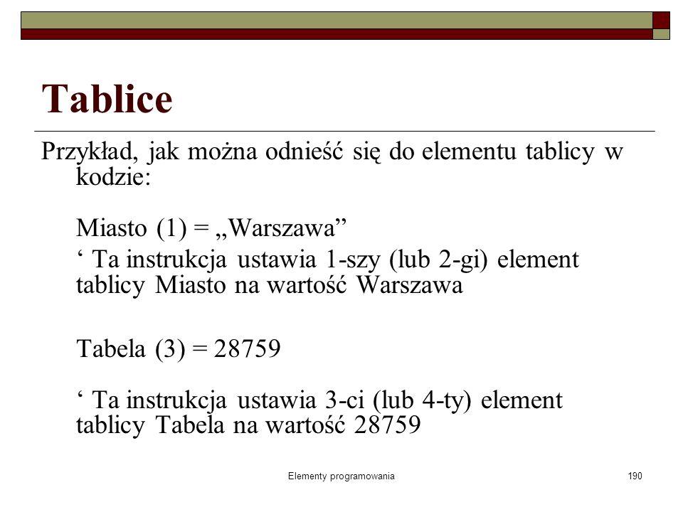 Elementy programowania190 Tablice Przykład, jak można odnieść się do elementu tablicy w kodzie: Miasto (1) = Warszawa Ta instrukcja ustawia 1-szy (lub 2-gi) element tablicy Miasto na wartość Warszawa Tabela (3) = 28759 Ta instrukcja ustawia 3-ci (lub 4-ty) element tablicy Tabela na wartość 28759