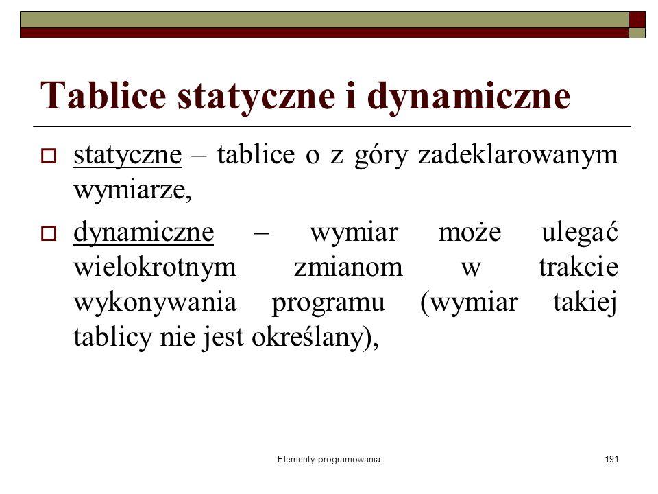 Elementy programowania191 Tablice statyczne i dynamiczne statyczne – tablice o z góry zadeklarowanym wymiarze, dynamiczne – wymiar może ulegać wielokrotnym zmianom w trakcie wykonywania programu (wymiar takiej tablicy nie jest określany),