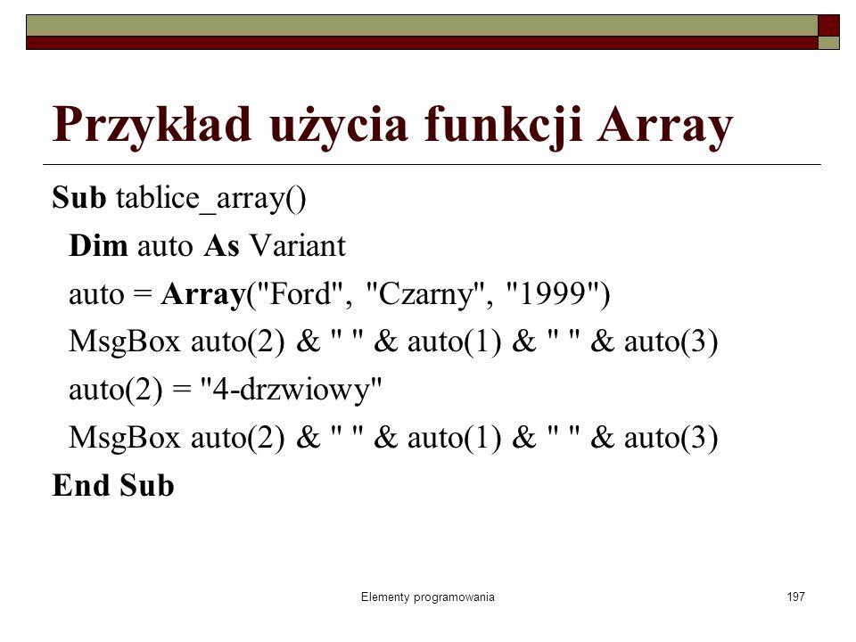 Elementy programowania197 Przykład użycia funkcji Array Sub tablice_array() Dim auto As Variant auto = Array( Ford , Czarny , 1999 ) MsgBox auto(2) & & auto(1) & & auto(3) auto(2) = 4-drzwiowy MsgBox auto(2) & & auto(1) & & auto(3) End Sub