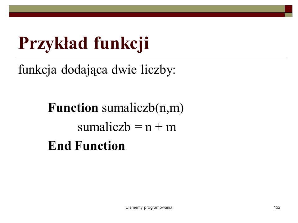 Elementy programowania152 Przykład funkcji funkcja dodająca dwie liczby: Function sumaliczb(n,m) sumaliczb = n + m End Function
