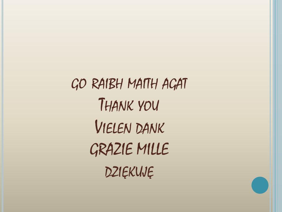 GO RAIBH MAITH AGAT T HANK YOU V IELEN DANK GRAZIE MILLE DZIĘKUJĘ