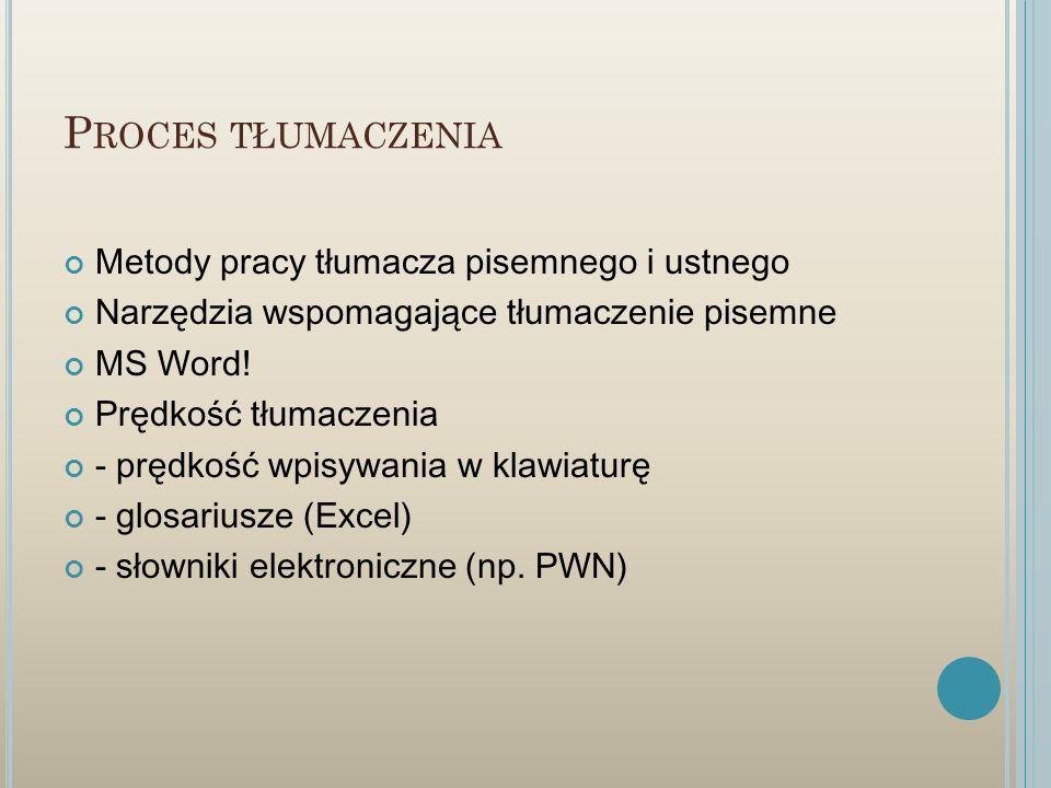 P ROCES TŁUMACZENIA Metody pracy tłumacza pisemnego i ustnego Narzędzia wspomagające tłumaczenie pisemne MS Word! Prędkość tłumaczenia - prędkość wpis