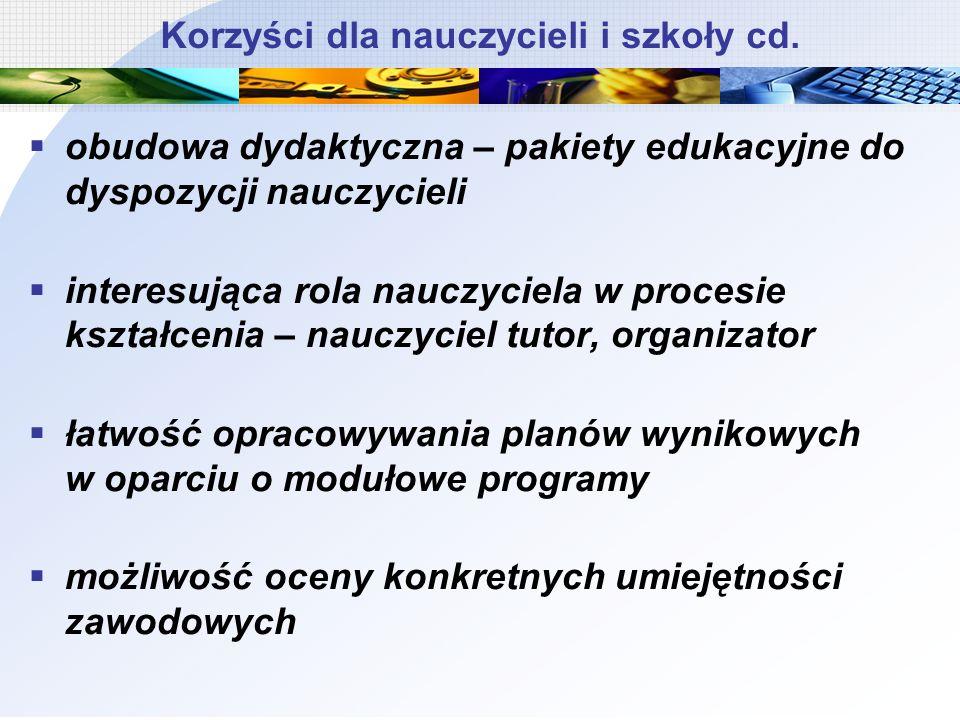 Korzyści dla nauczycieli i szkoły cd. obudowa dydaktyczna – pakiety edukacyjne do dyspozycji nauczycieli interesująca rola nauczyciela w procesie kszt
