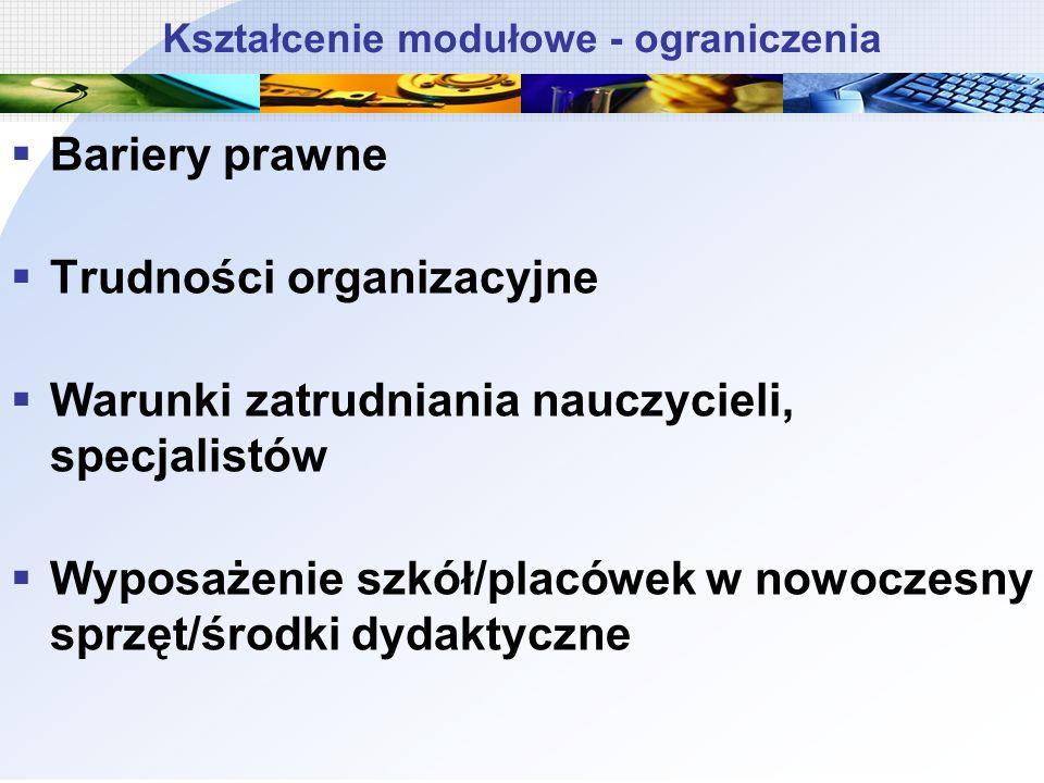 Kształcenie modułowe - ograniczenia Bariery prawne Trudności organizacyjne Warunki zatrudniania nauczycieli, specjalistów Wyposażenie szkół/placówek w