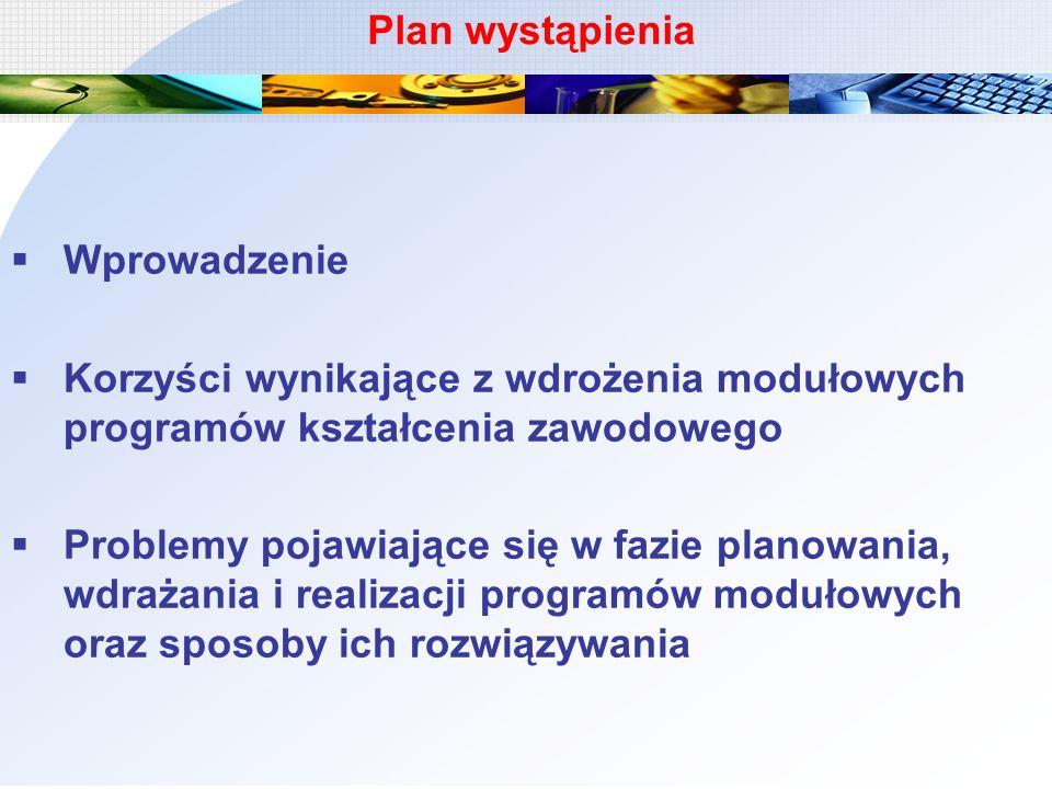 Wprowadzenie Korzyści wynikające z wdrożenia modułowych programów kształcenia zawodowego Problemy pojawiające się w fazie planowania, wdrażania i real