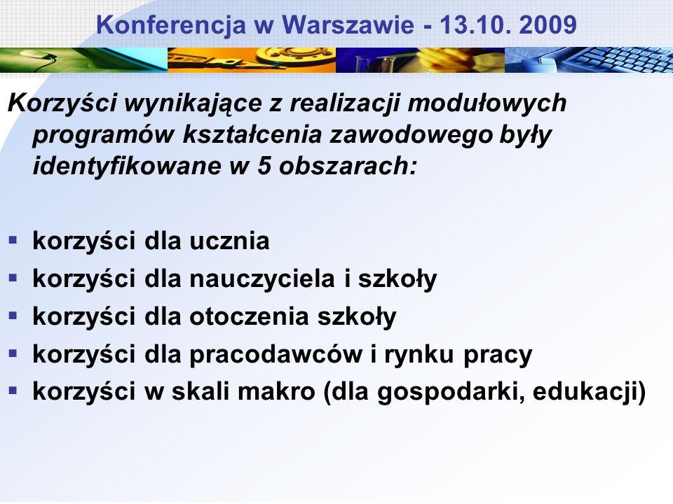 Konferencja w Warszawie - 13.10. 2009 Korzyści wynikające z realizacji modułowych programów kształcenia zawodowego były identyfikowane w 5 obszarach:
