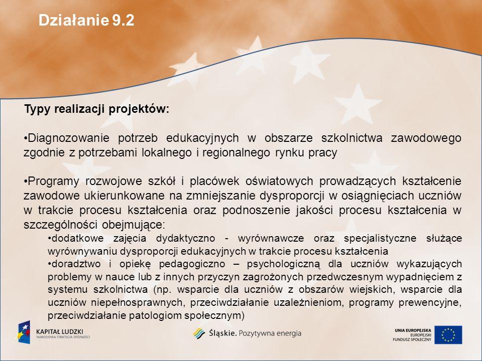 W związku z niezakontraktowaniem pełnej puli środków w ramach konkursu nr 1/POKL/9.2/2009 w bieżącym roku został ogłoszony drugi konkurs zamknięty na składanie wniosków o dofinansowanie ze środków Europejskiego Funduszu Społecznego projektów w ramach Priorytetu IX Rozwój wykształcenia i kompetencji w regionach Działania 9.2 Podniesienie atrakcyjności i jakości szkolnictwa zawodowego PO KL.