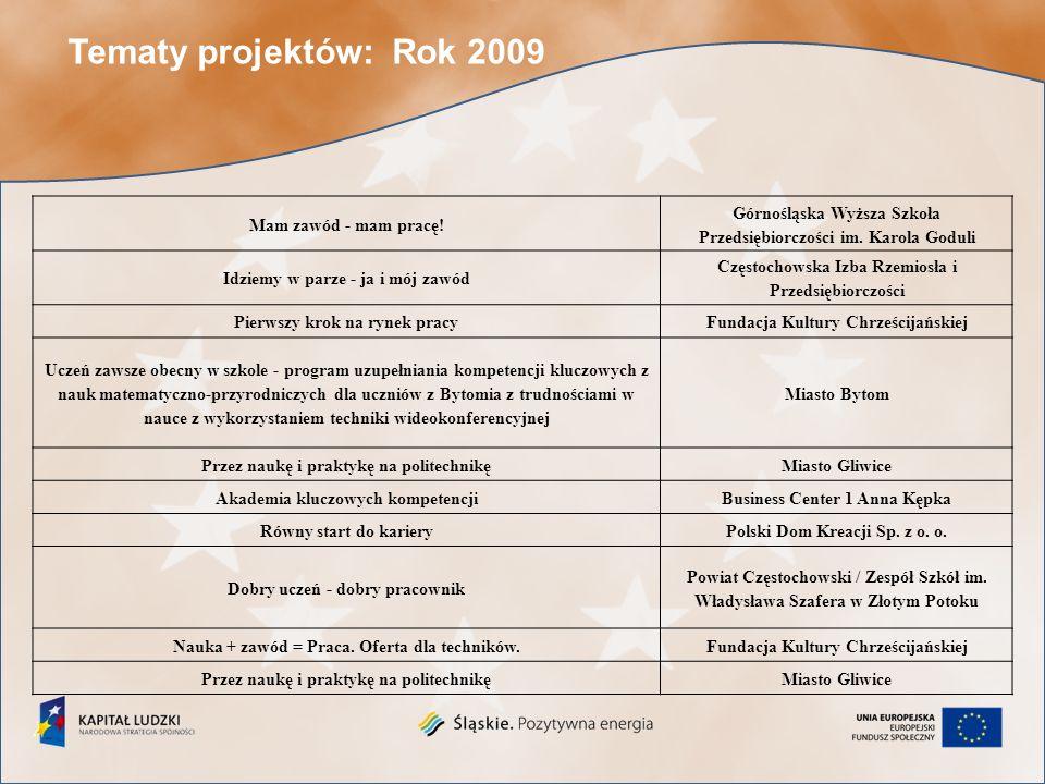 Tematy projektów: Rok 2010 Wyrównywanie szans edukacyjnych i zawodowych uczniów niepełnosprawnych Samorząd Województwa Śląskiego/Specjalny Ośrodek Szkolno-Wychowawczy dla Niesłyszących i Słabosłyszących w Raciborzu Wzmocnienie zatrudnienia osób z dysfunkcją wzroku poprzez rozwój wykształcenia i kompetencji Polski Związek Niewidomych Okręg Śląski Zawodowiec - przyszłościowiec.