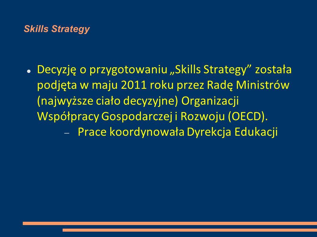 Skills Strategy Decyzję o przygotowaniu Skills Strategy została podjęta w maju 2011 roku przez Radę Ministrów (najwyższe ciało decyzyjne) Organizacji