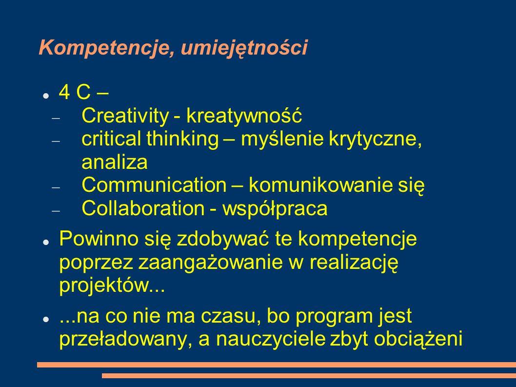 Kompetencje, umiejętności 4 C – Creativity - kreatywność critical thinking – myślenie krytyczne, analiza Communication – komunikowanie się Collaboration - współpraca Powinno się zdobywać te kompetencje poprzez zaangażowanie w realizację projektów......na co nie ma czasu, bo program jest przeładowany, a nauczyciele zbyt obciążeni