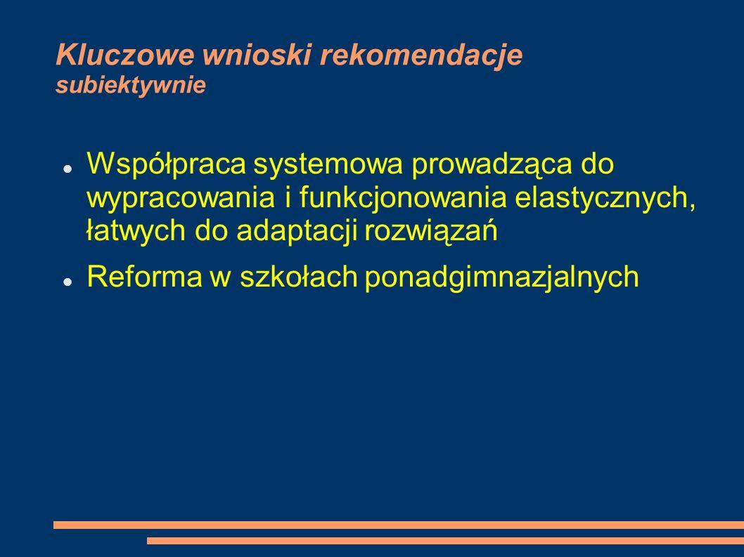 Kluczowe wnioski rekomendacje subiektywnie Współpraca systemowa prowadząca do wypracowania i funkcjonowania elastycznych, łatwych do adaptacji rozwiązań Reforma w szkołach ponadgimnazjalnych