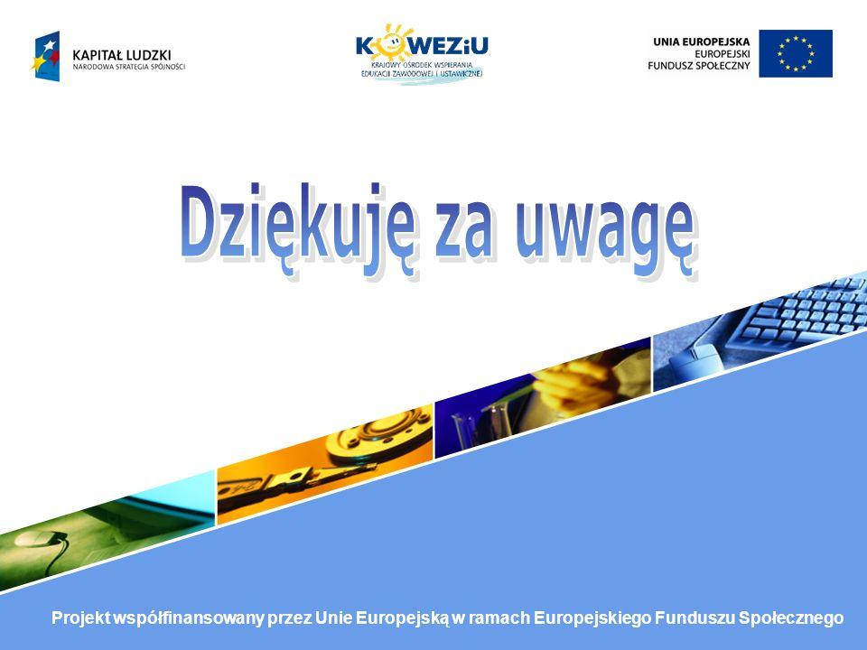 Projekt współfinansowany przez Unie Europejską w ramach Europejskiego Funduszu Społecznego