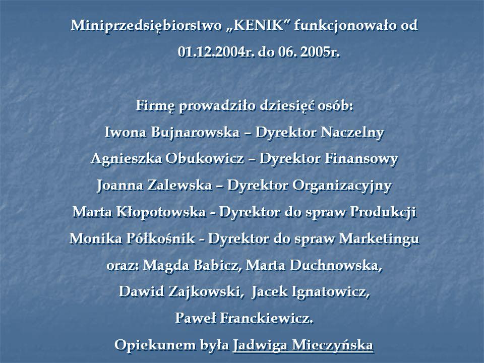 Miniprzedsiębiorstwo KENIK funkcjonowało od 01.12.2004r.