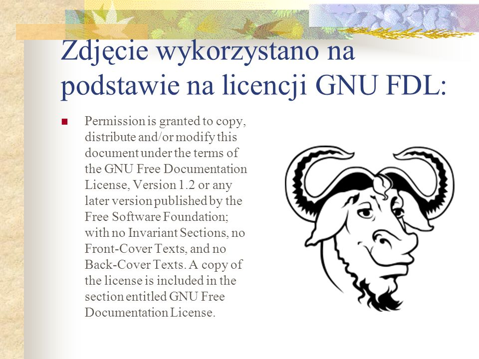 Zdjęcie wykorzystano na podstawie na licencji GNU FDL: Permission is granted to copy, distribute and/or modify this document under the terms of the GN