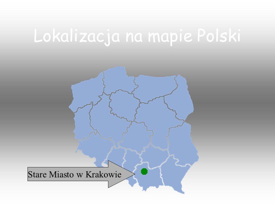 Stare Miasto Krakowa, dawnej stolicy Polski, rozciąga się u stóp Zamku Królewskiego na Wawelu.