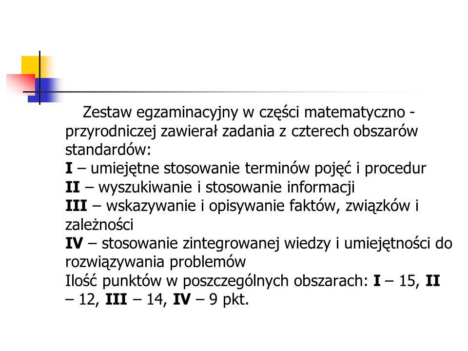 Zestaw egzaminacyjny w części matematyczno - przyrodniczej zawierał zadania z czterech obszarów standardów: I – umiejętne stosowanie terminów pojęć i