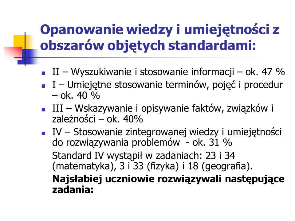 Opanowanie wiedzy i umiejętności z obszarów objętych standardami: II – Wyszukiwanie i stosowanie informacji – ok. 47 % I – Umiejętne stosowanie termin