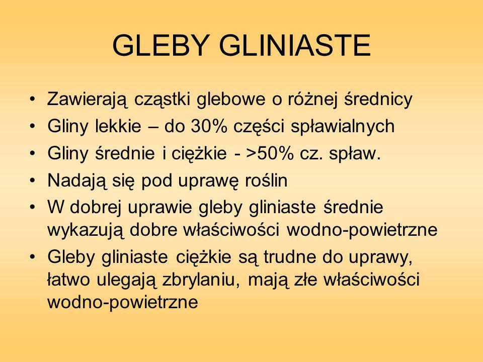 GLEBY GLINIASTE Zawierają cząstki glebowe o różnej średnicy Gliny lekkie – do 30% części spławialnych Gliny średnie i ciężkie - >50% cz.