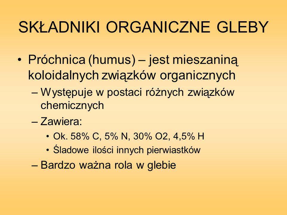 SKŁADNIKI ORGANICZNE GLEBY Próchnica (humus) – jest mieszaniną koloidalnych związków organicznych –Występuje w postaci różnych związków chemicznych –Zawiera: Ok.
