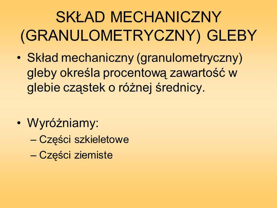 SKŁAD MECHANICZNY (GRANULOMETRYCZNY) GLEBY Skład mechaniczny (granulometryczny) gleby określa procentową zawartość w glebie cząstek o różnej średnicy.