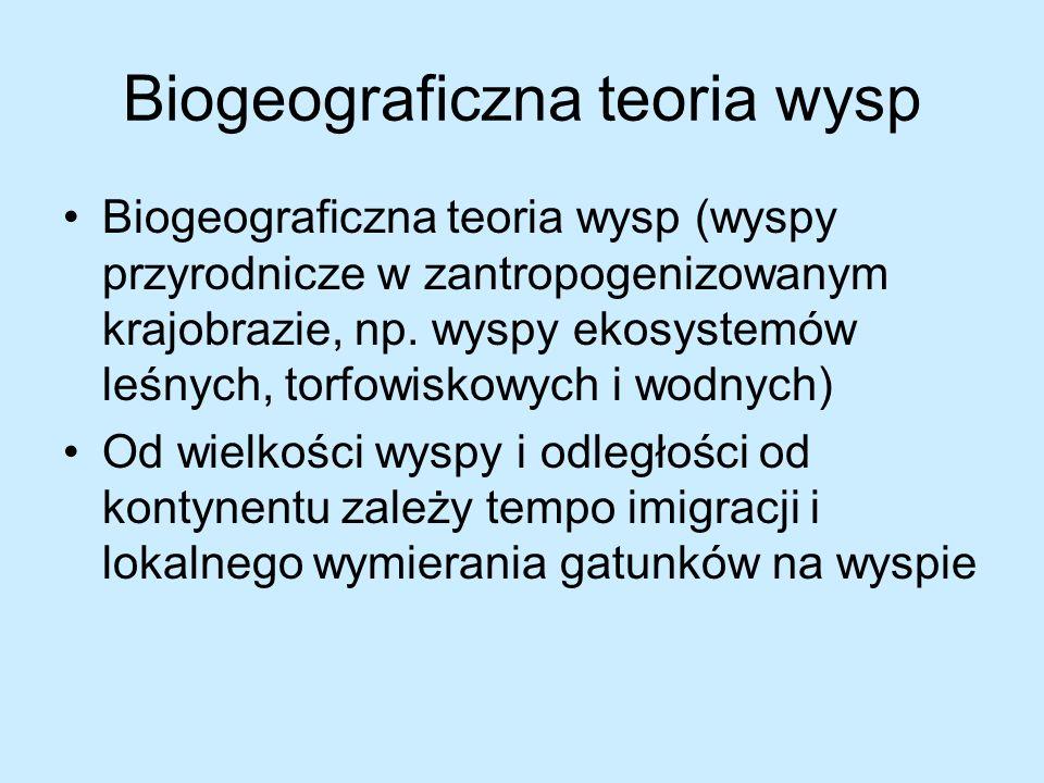 Biogeograficzna teoria wysp Biogeograficzna teoria wysp (wyspy przyrodnicze w zantropogenizowanym krajobrazie, np. wyspy ekosystemów leśnych, torfowis