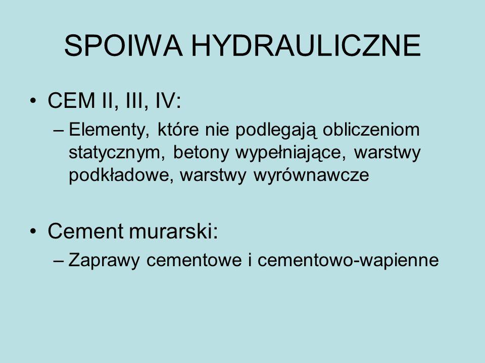 SPOIWA HYDRAULICZNE CEM II, III, IV: –Elementy, które nie podlegają obliczeniom statycznym, betony wypełniające, warstwy podkładowe, warstwy wyrównawc