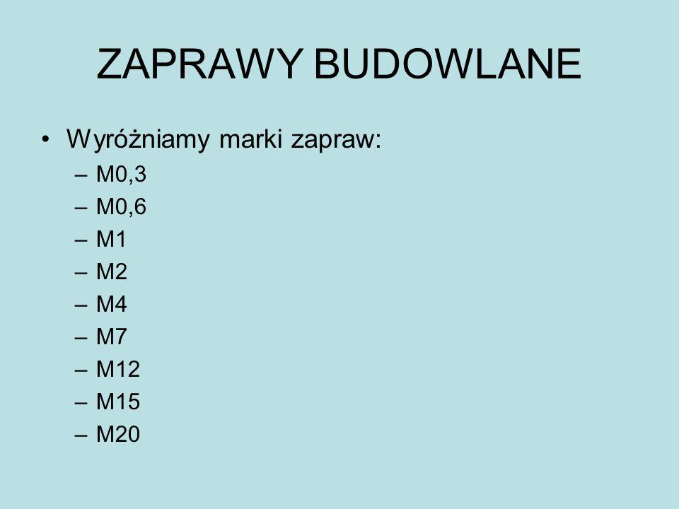ZAPRAWY BUDOWLANE Wyróżniamy marki zapraw: –M0,3 –M0,6 –M1 –M2 –M4 –M7 –M12 –M15 –M20